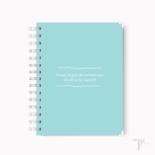 Beauty begins notebook blue