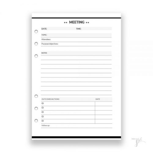 Meeting and agenda template for planner