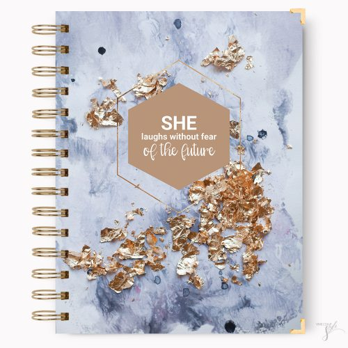 She laughs without fear of the future notebook journal
