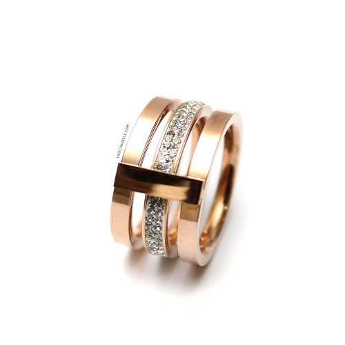 Orianna stacked rose gold crystal ring