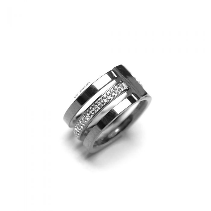Orianna silver stacked ring with cubic zirconia