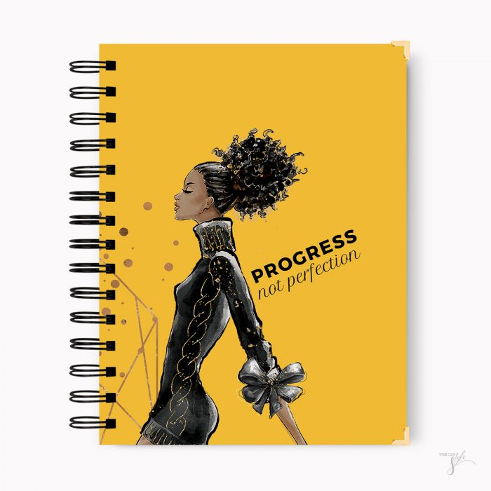 Progress not perfection quote notebook