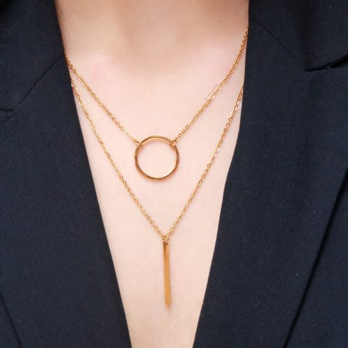 Cleo double layer bar and circle necklace 50cm