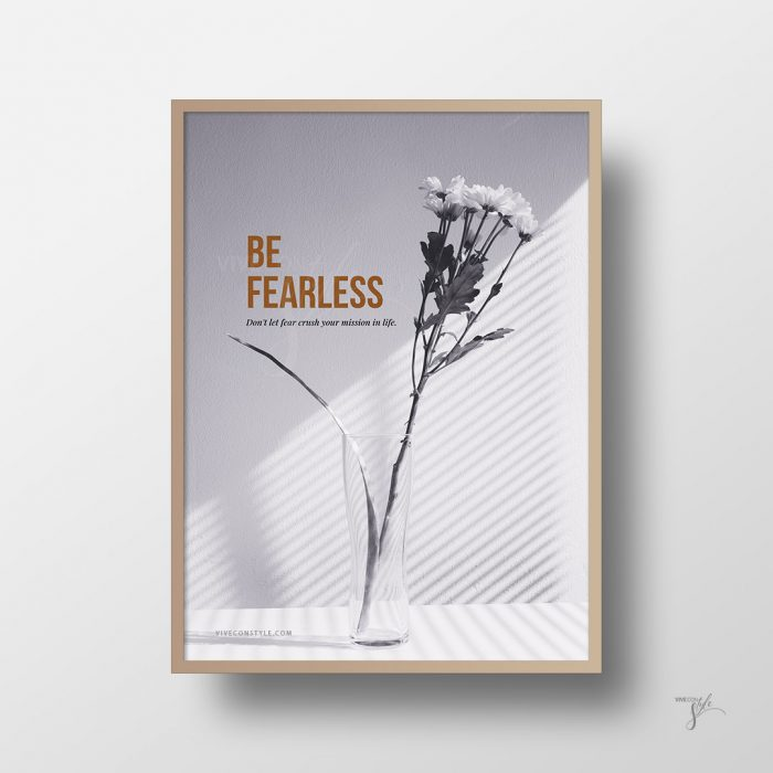 Be Fearless. Stylish minimal wall art quote poster for home, office